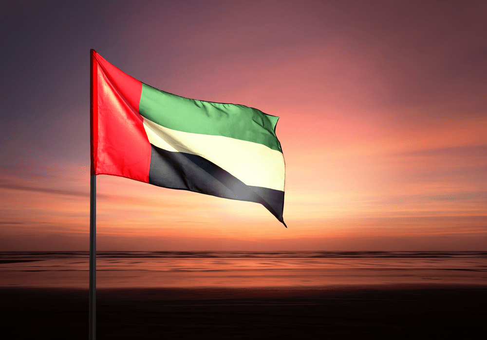 United Arab Emirates Flying Against Beautiful Morning Sky Uae National Day Cool Countries Happy National Day