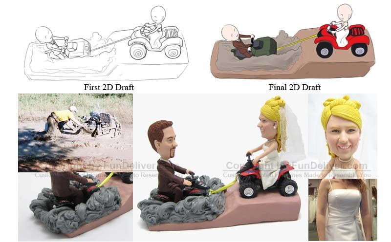 Atv Four Wheeler Wedding Cake Toppers Hobby And Sport