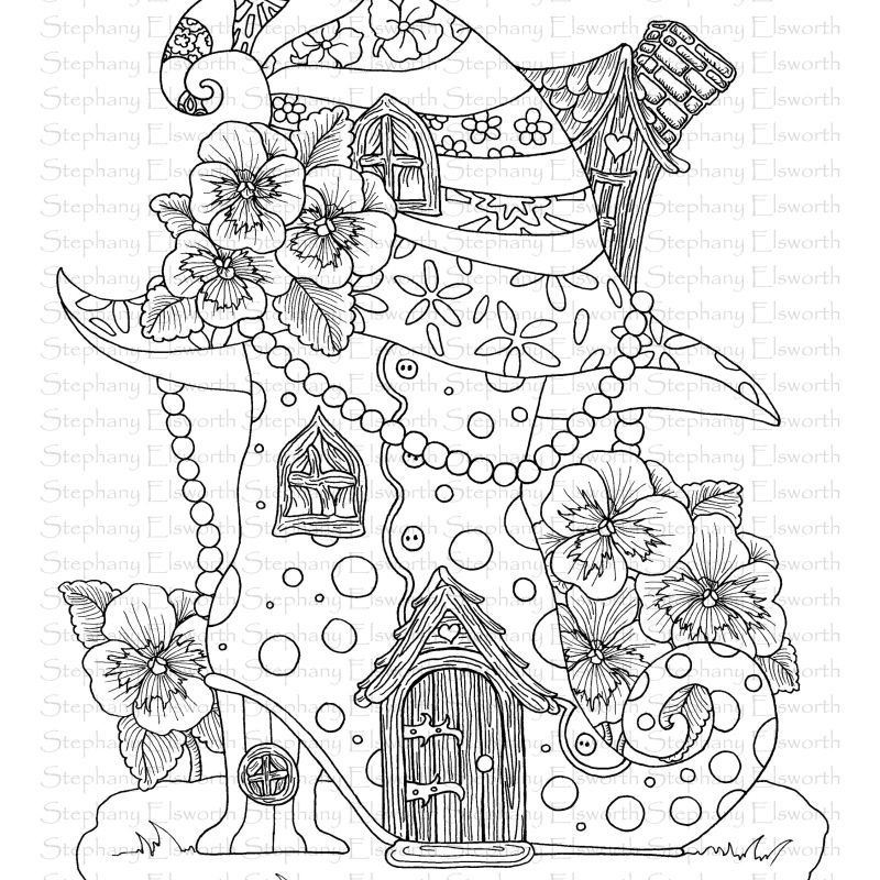 Boot And Witch Hat Fairy House Coloring Page Color With Steph Coloring Pages House Colouring Pages Witch Hat