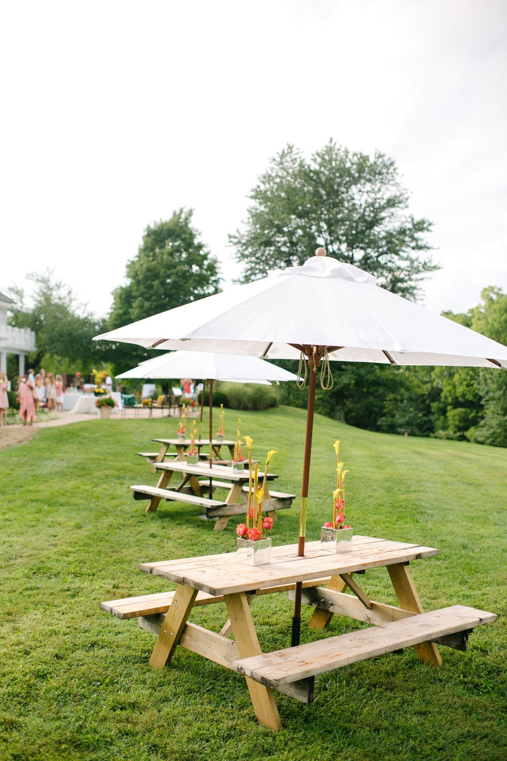 One Way To Keep Your Wedding Reception Casual Add Picnic Tables