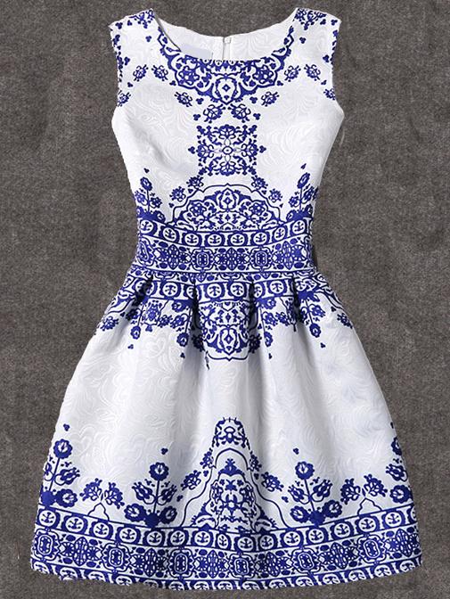 Kleid ärmellos mit Vintage Druck plissiert -weiß | Vintage-drucke ...