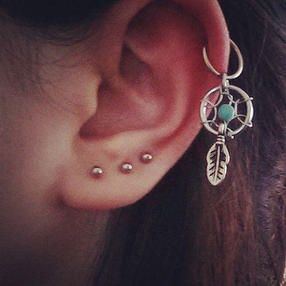 Dream Catcher Helix Earring Dreamcatcher Cartilage Earring Helix Earring by LostAtSeaJewelry 1