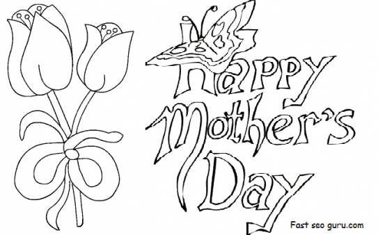Printable Happy Mothers Day Card With Tulips Coloring Pages Printable Coloring Pages Kid Mothers Day Drawings Happy Mother S Day Card Mother S Day Colors