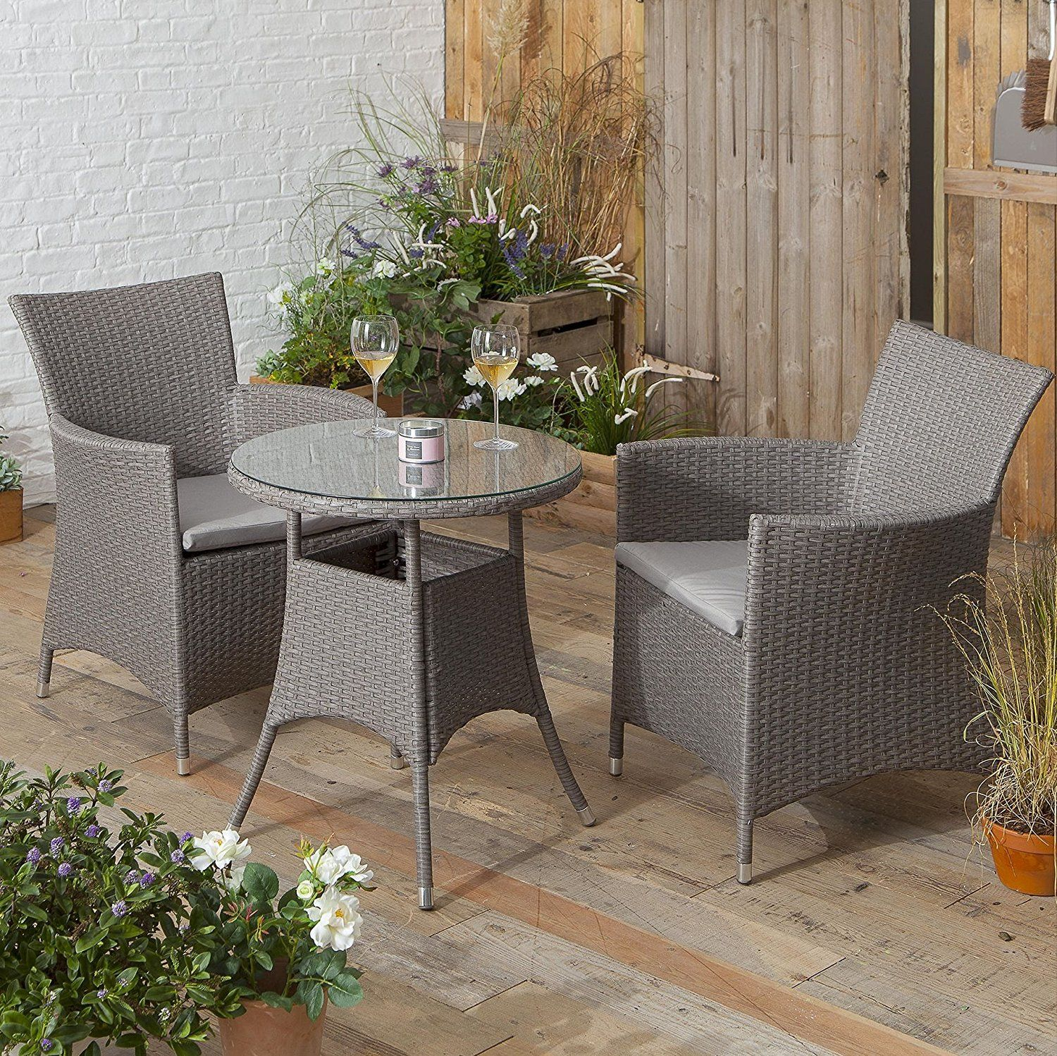 2 Chairs And Table Rattan How To Paint Kitchen Great Value Stylish Style Bistro Set Garden Patio With Grey Amazon Co Uk Home