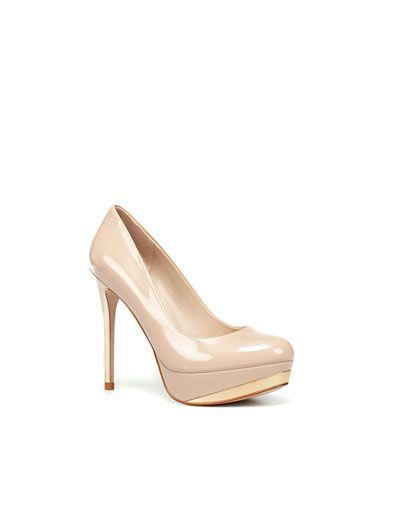 Zara Patent Leather Platform Court Shoe In Nude
