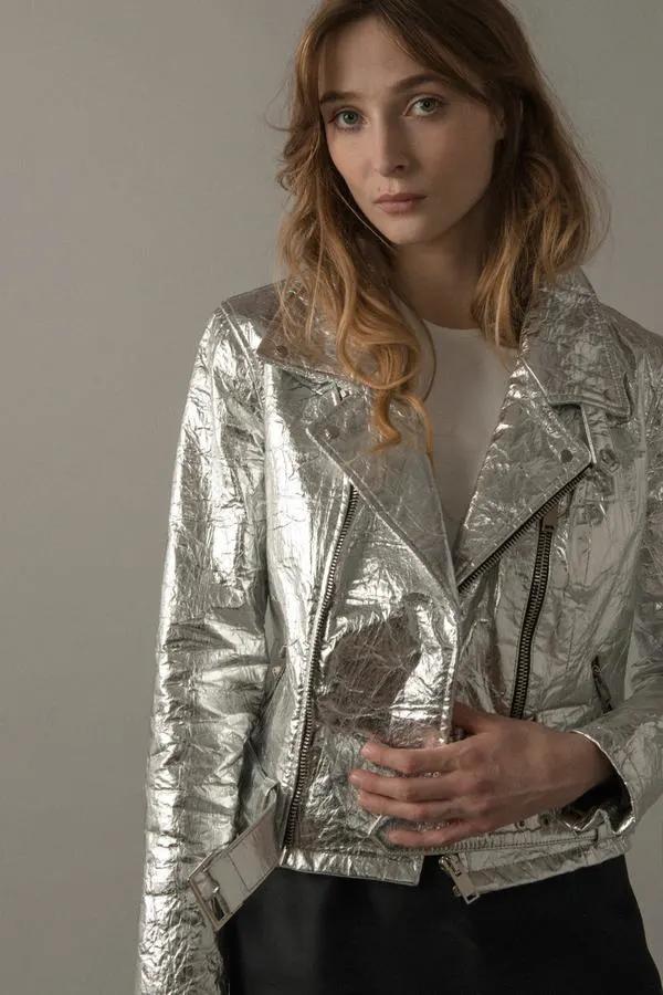 Altiir Women's Piñatex NeoClassic Biker Jacket Silver
