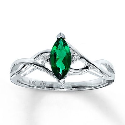 0d883a432692e Kay - Lab-Created Emerald Ring Diamond Accents 10K White Gold ...