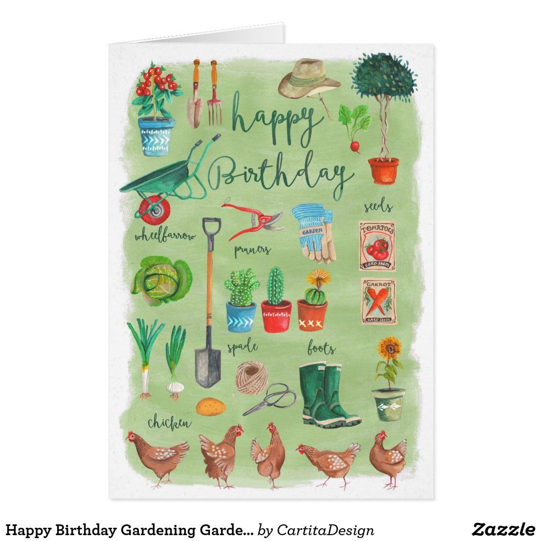 Stylish Green Gardening Garden Happy Birthday Card Zazzle Com