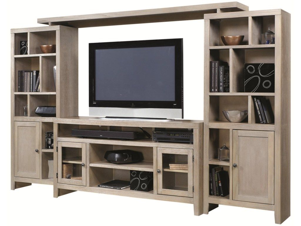 Essentials wirebrush entertainment wall with pier storage and