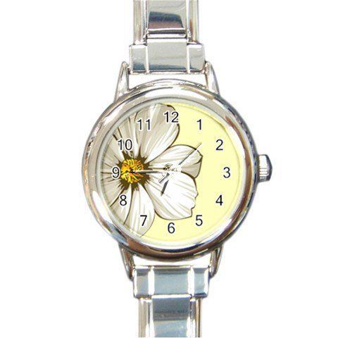 "Floral Ivory/Cream Round Italian Charm Watch by Truth37. $9.97. This HOTTEST Custom Round Shape Italian Charm Photo Watch comes with 16 starter Italian charm links.  The measurement of the watch face (metal edge to edge) is approximately 7/8"", and the length is 7"".  It can fit most lady's wrists."