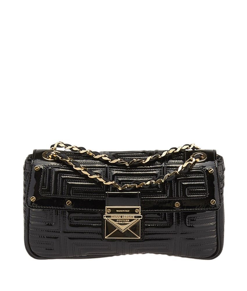 Gianni Versace Couture Black Quilted Patent Leather Shoulder Bag ... 40c9d52819d66