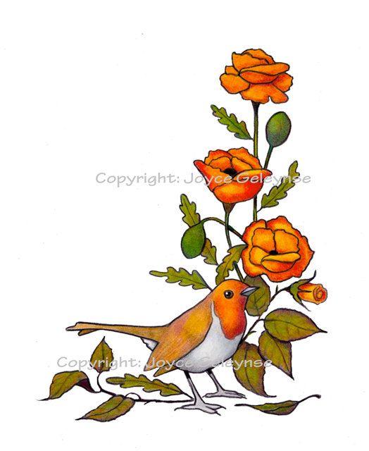 Clip Art English Robin Bird Flowers Colour by JoyfulArtImages, $4.00