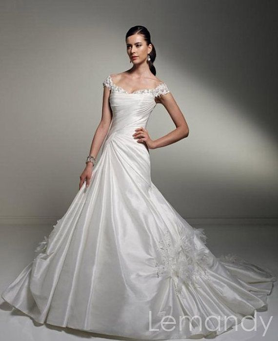 vintage off the shoulder princess taffeta by Lemandyweddingdress, $286.00