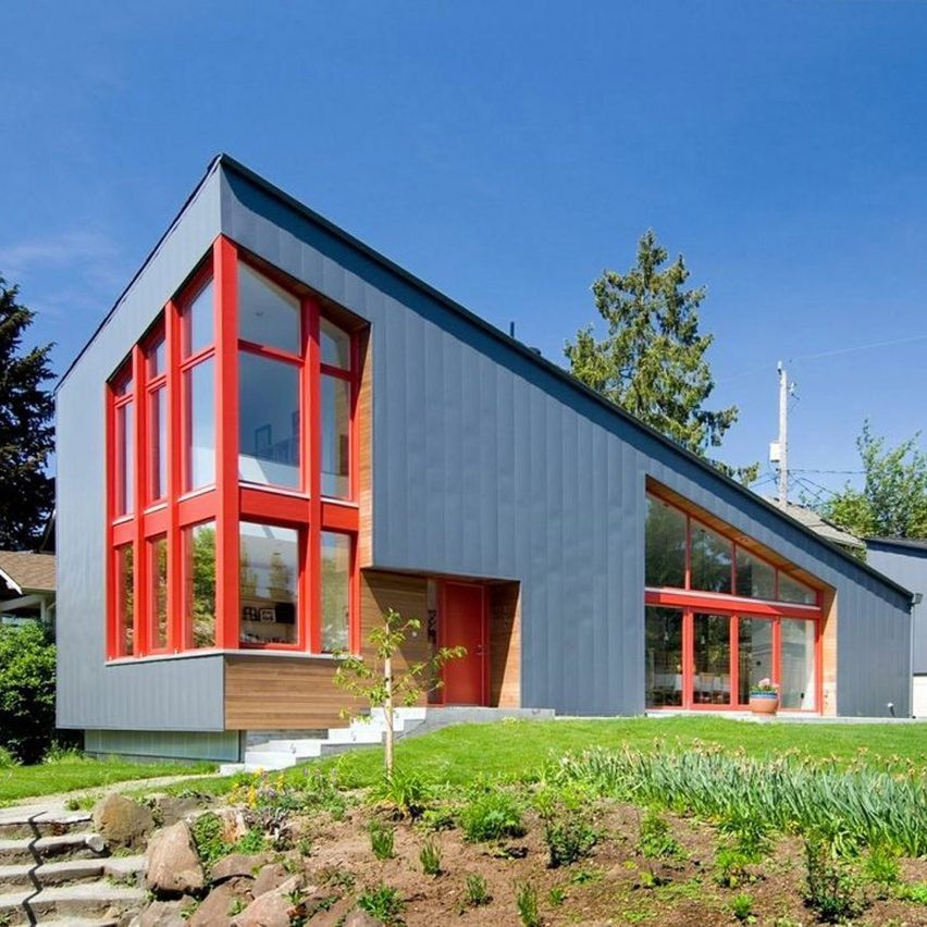 Red window frames accent angular Seattle house by Stettler Design ...