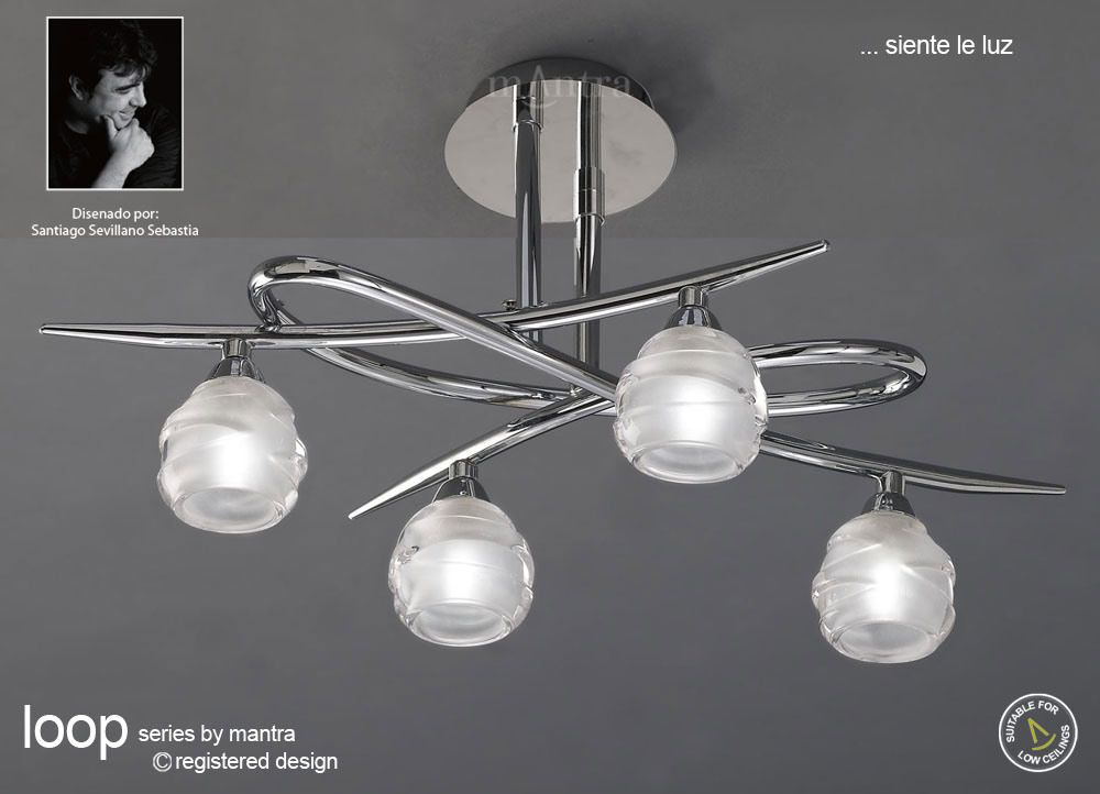 Mantra M1803 Loop 4 Light Polished Chrome Semi Flush