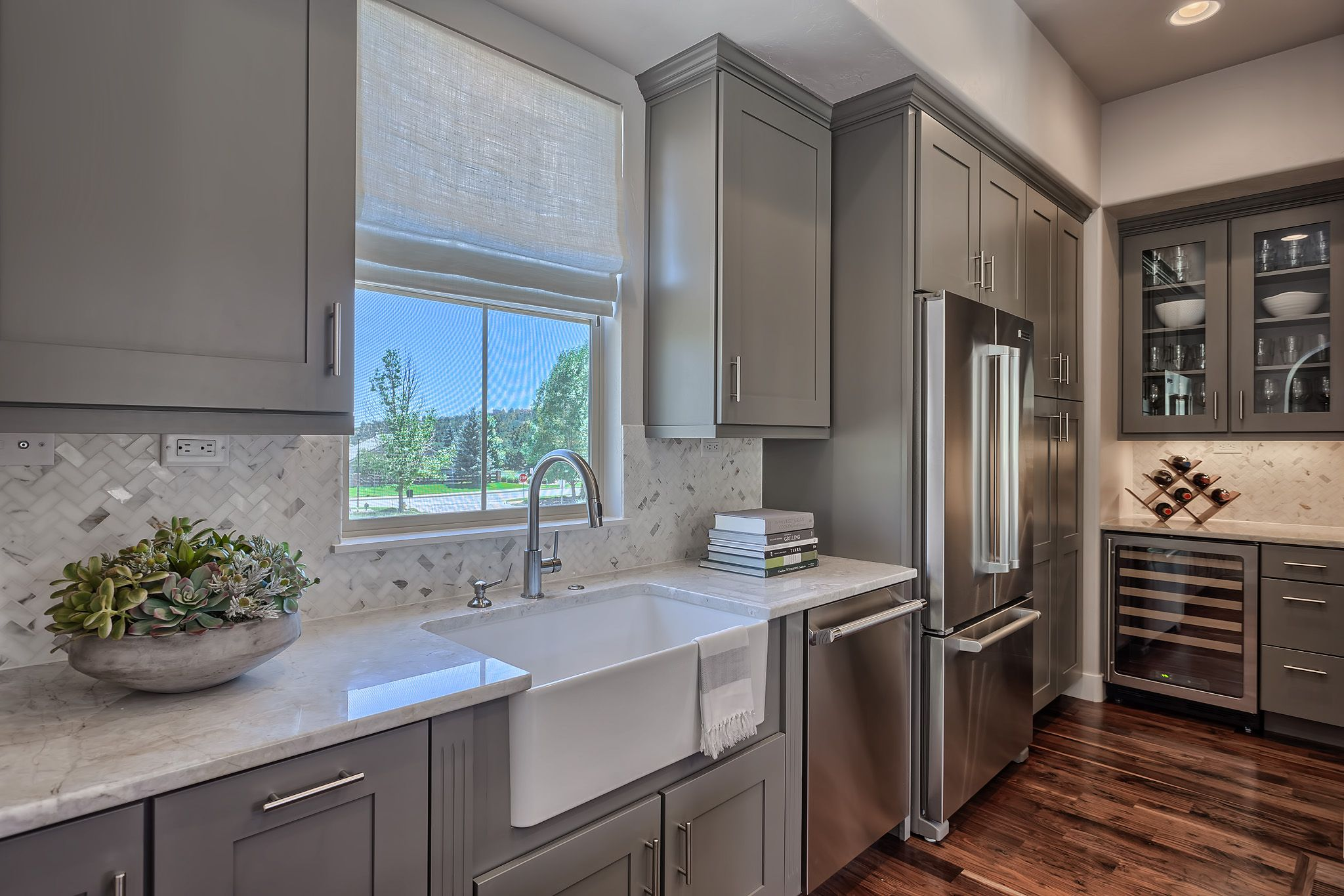 royal wilde gray kitchen cabinets granite counters waterfall edge herringbone marble on farmhouse kitchen gray id=18663