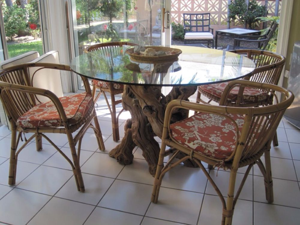 Contemporary glass driftwood base round dining table