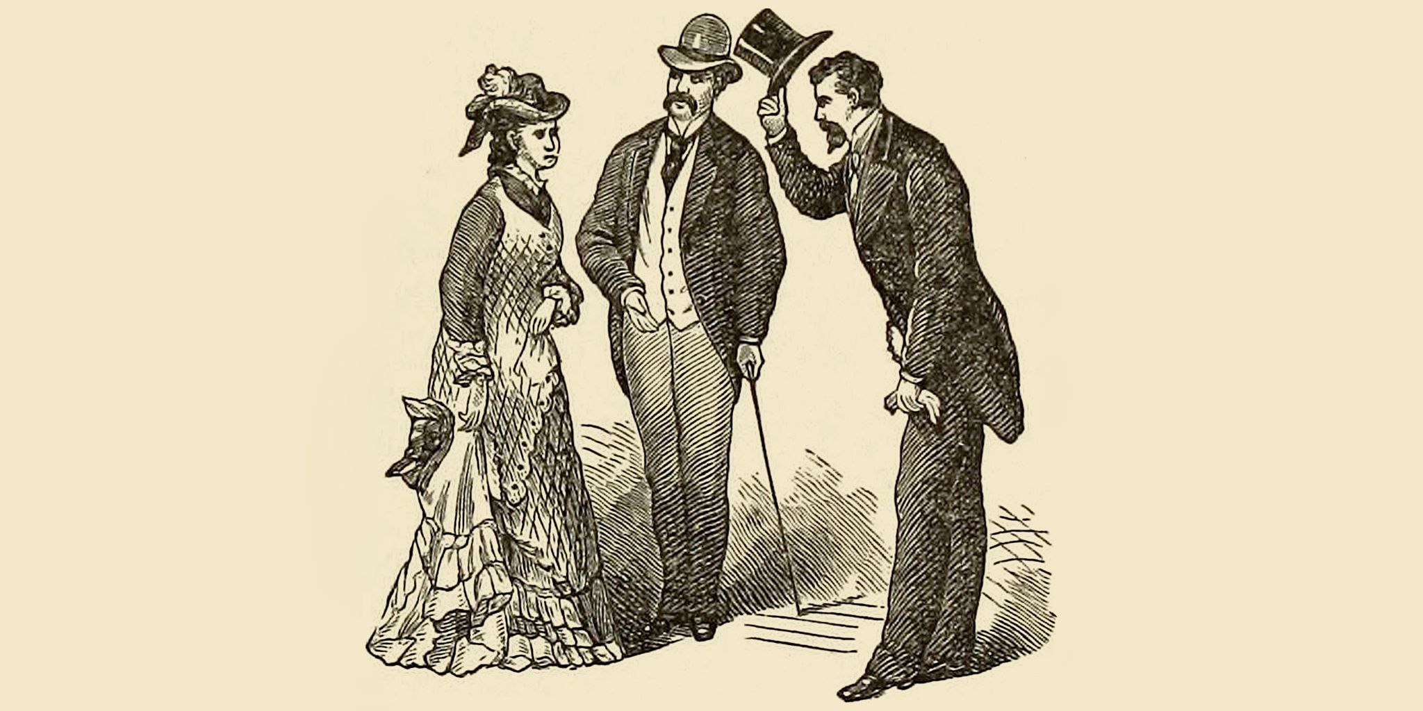 Men speaking to a woman