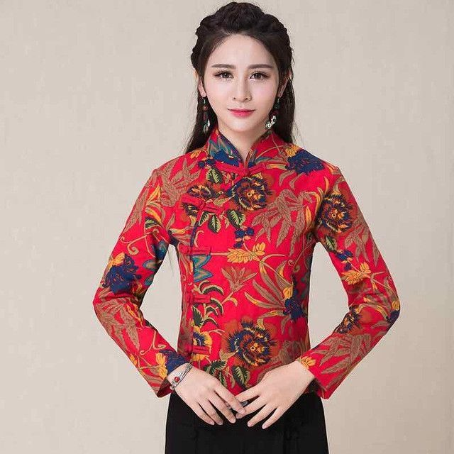 Chinese clothing store 2017 women vintage ethnic long sleeve mandarin collar print blouse shirt top traditional Chinese clothing