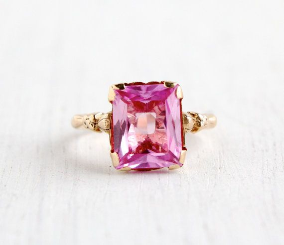 Antique 10k Yellow Gold Pink Sapphire Ring Size 4 1 2 Art Deco 1930s Fine Jewelry Floral Shoulderes Pink Sapphire Ring Pink Sapphire Fine Jewelry