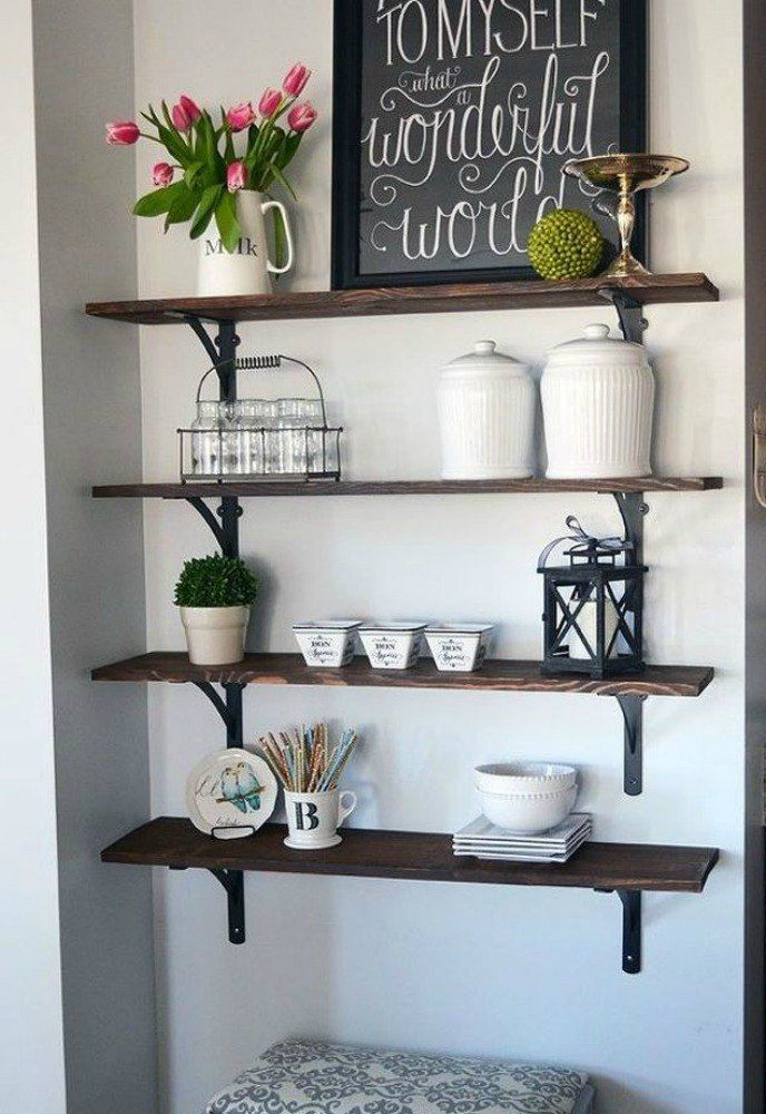 15 Clever Ways To Add More Kitchen Storage Space With Open Shelves. Rustic Home  Decor CheapFarmhouse ...