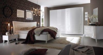 Hochglanz Schlafzimmer ~ Schlafzimmer mit bett cm weiss echt hochglanz siebdruck