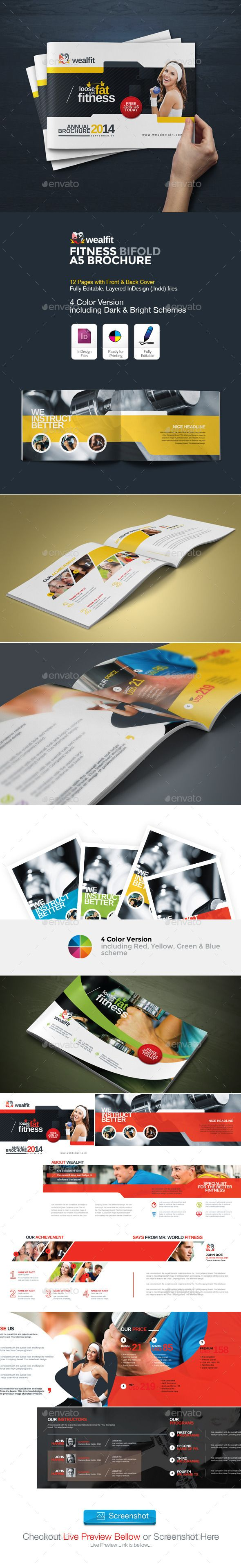 WealFit | Fitness - Gym Bifold A5 Brochure — InDesign Template ...