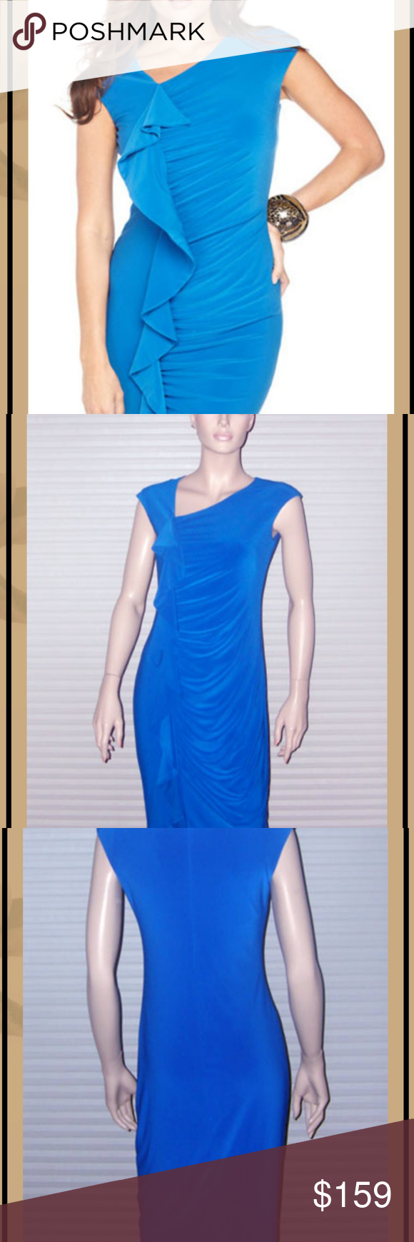 Size 10 & 12 - Frank Lyman Lane Cobalt Dress A gorgeous Day-to-Evening Style in versatile Cobalt.  Gentle gathers meet to a soft cascade ruffle down the front.  Wear for cocktails with shoulder duster earrings or put a blazer on top and wear to the office.  In wrinkle-resistant Poly Spandex blend with comfortable stretch.  Asymmetrical neckline; hidden zipper at back; sleeveless; straight midi hemline, can be made shorter if desired.  Imported from Canada; Hand Wash.  Two sizes in stock, one 10 #cobaltdress