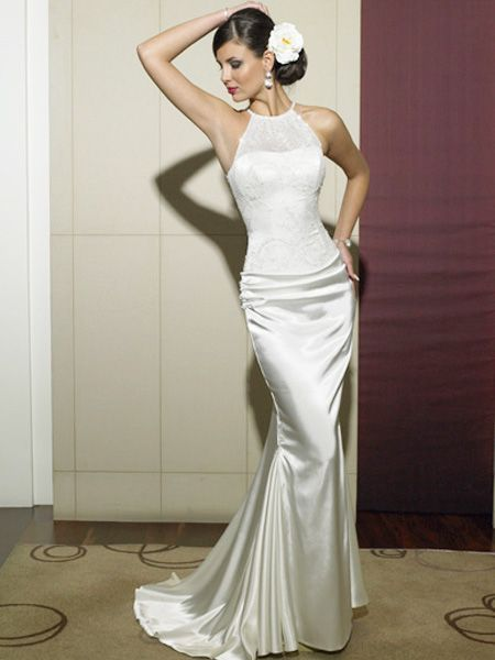 Nice Buy Tempting Mermaid Halter Lace Up Satin Sweep Train Wedding Dress Online Cheap Prices I love the top of this dress