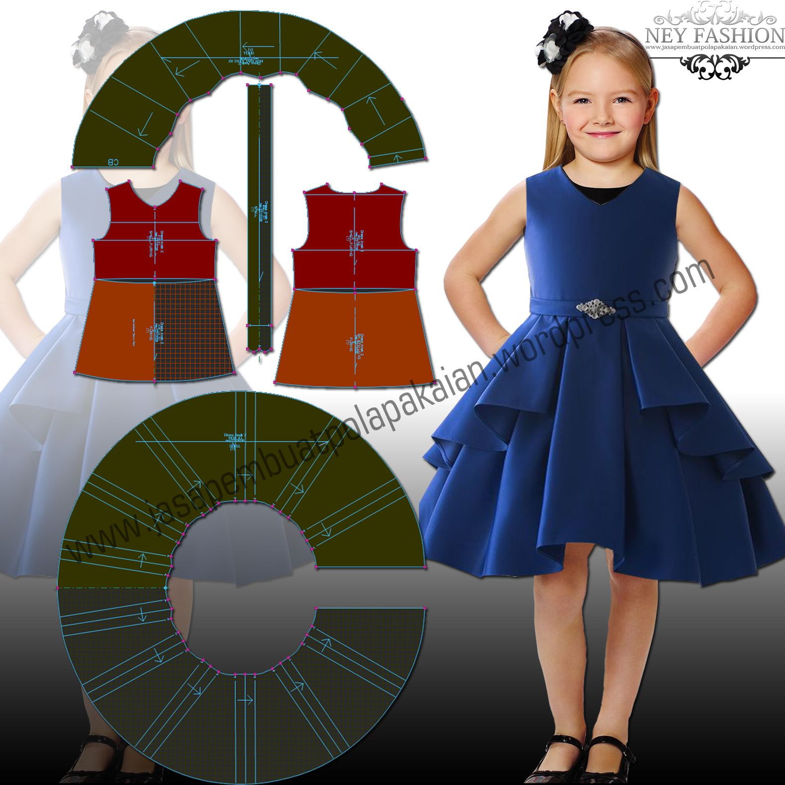 Sleeveleass Dress Availabe size from 1y till 9y if you intersting this pattern we will send e pattern via email with format dxf and pdf use this link below