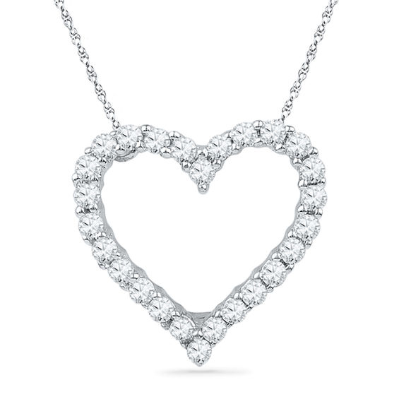 1 6 Ct T W Diamond Lined Heart Pendant In 10k White Gold Zales Heart Pendant Diamond Heart Pendant Heart Jewelry