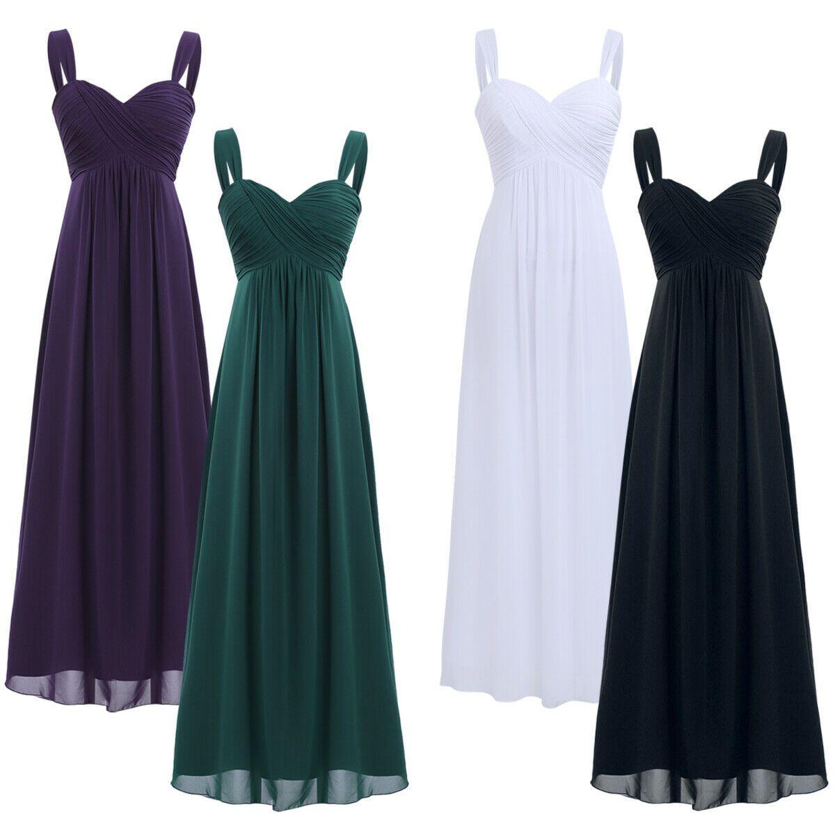 Damen Festliche Kleider Träger Chiffon Kleid Brautjungfernkleider