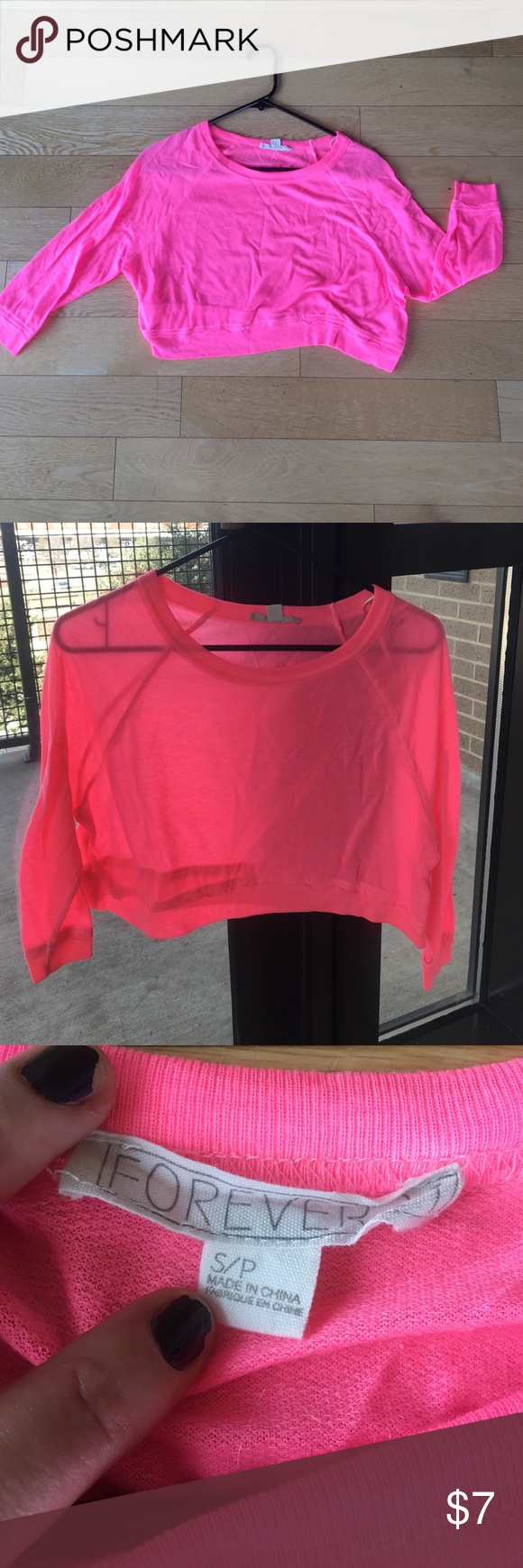Forever 21 Neon Pink crop top Soft 3/4 sleeve neon pink crop top Forever 21 Tops Crop Tops