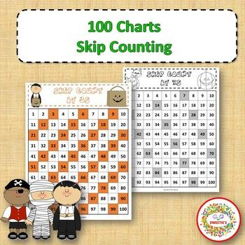 100 Charts with Skip Counting - Halloween | 100 chart, Worksheets ...