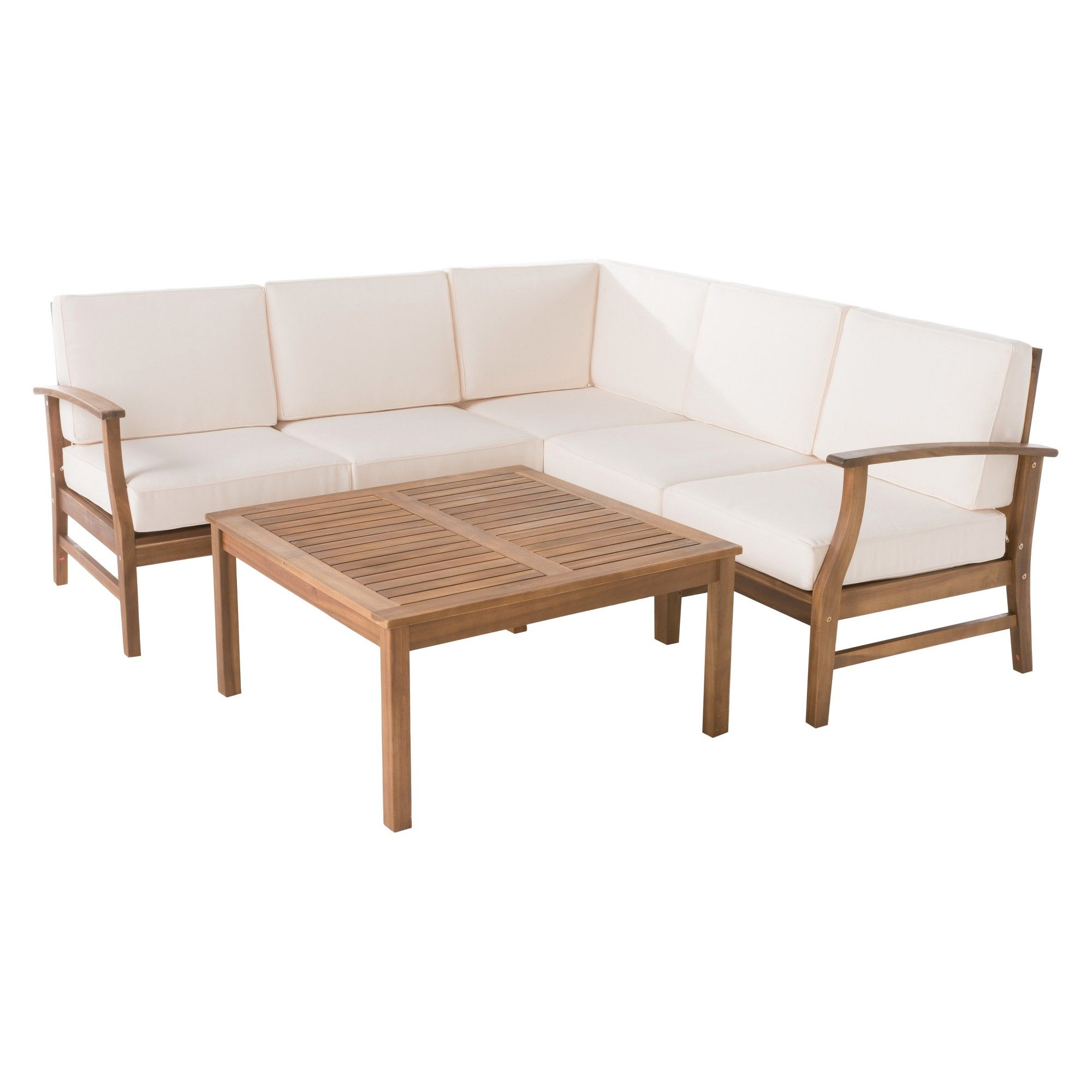 perla 6pc acacia wood chat set with water resistant cushions cream rh pinterest com