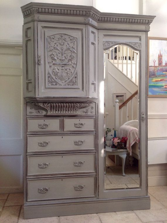 Hall Cupboards Furniture impressive antique heavily carved french style painted wardrobe