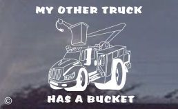 Truck Window Decal My Other Truck Has A Bucket Decal Large White Or Black Sized At 7 X 7 And Priced 7 95 With Images Bucket Truck Lineman Power Lineman Trucks
