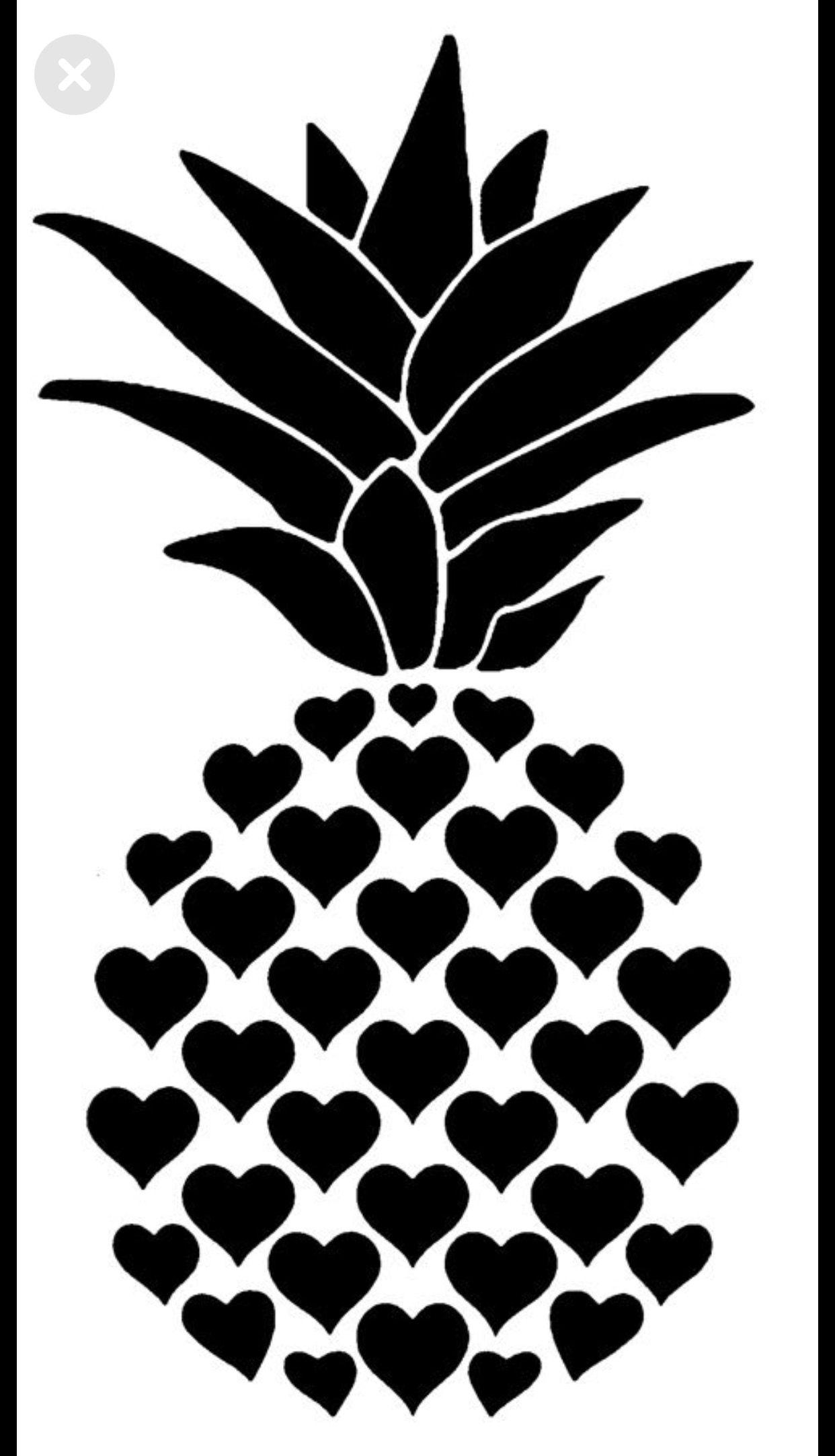 Heart pineapple Cricut Stencils, Cricut, Silhouette