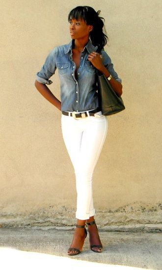 Look of the Day: White Jeans Forever! | Pants, White jeans and ...
