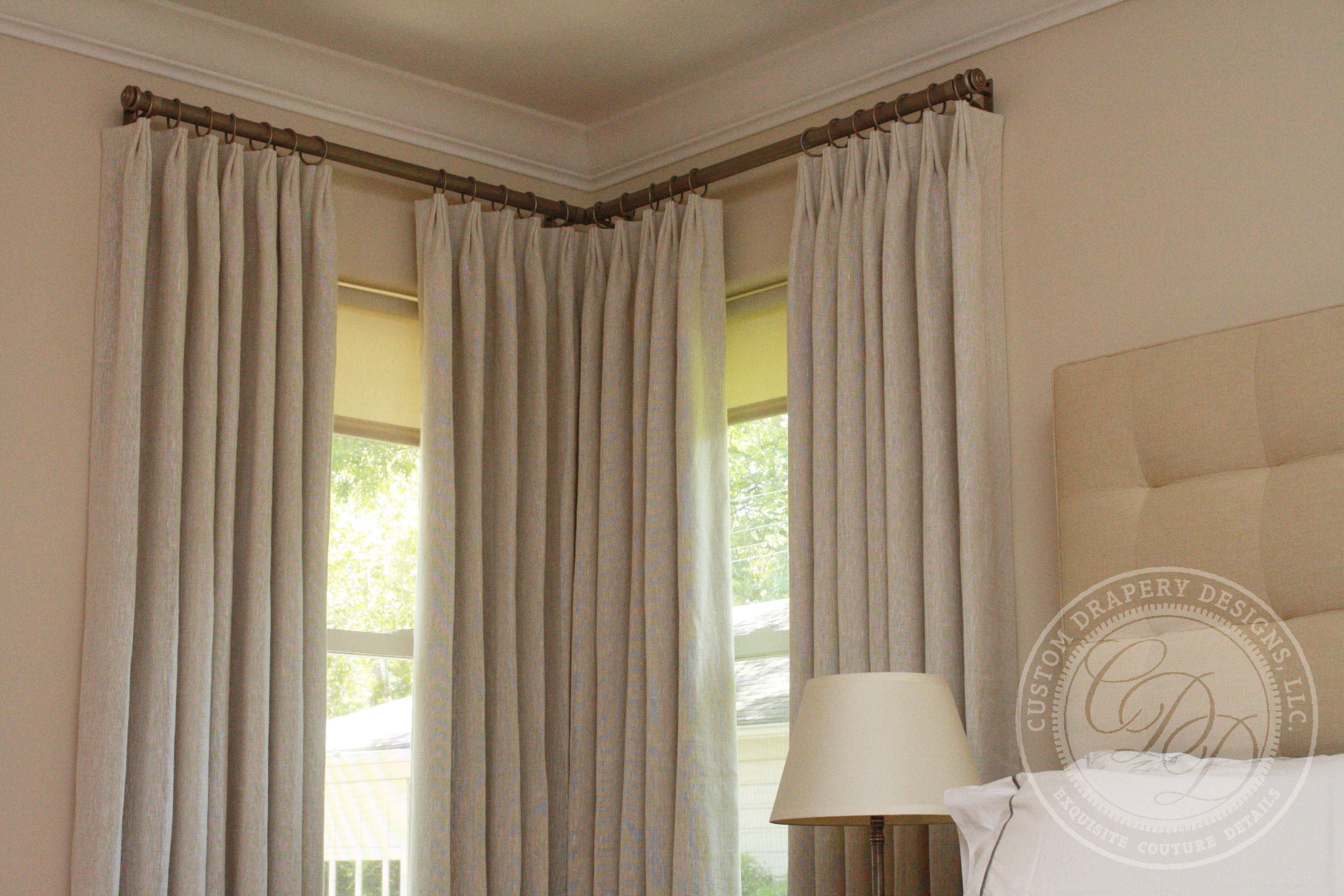 Window Treatments With Two Windows In A Corner Corner Curtains