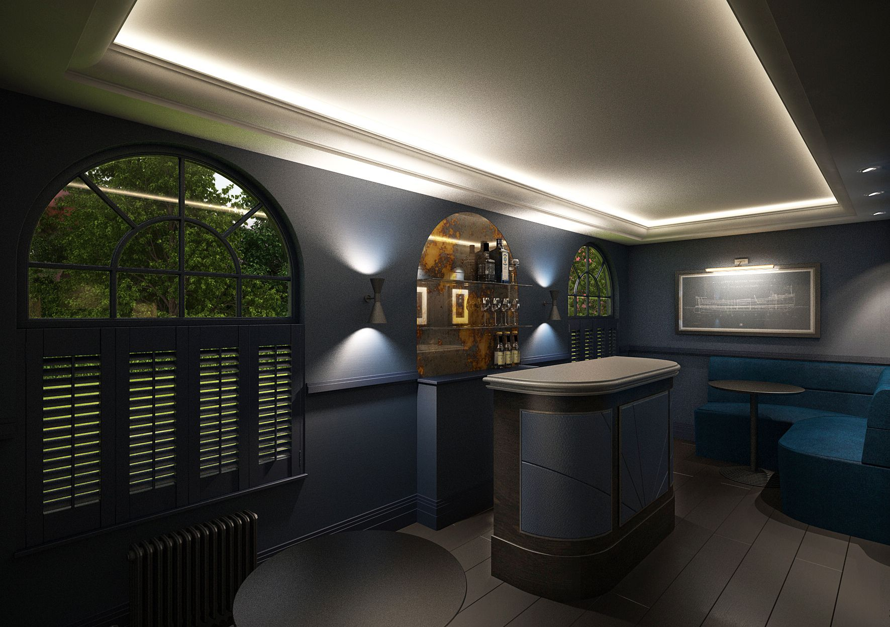 Current Project. Art Deco inspired Bar for private residence. Stereo Interiors Sacarmento Wall covering & Fired Earth Carbon Blue Walls. Antique Bronze Metal Detailing.