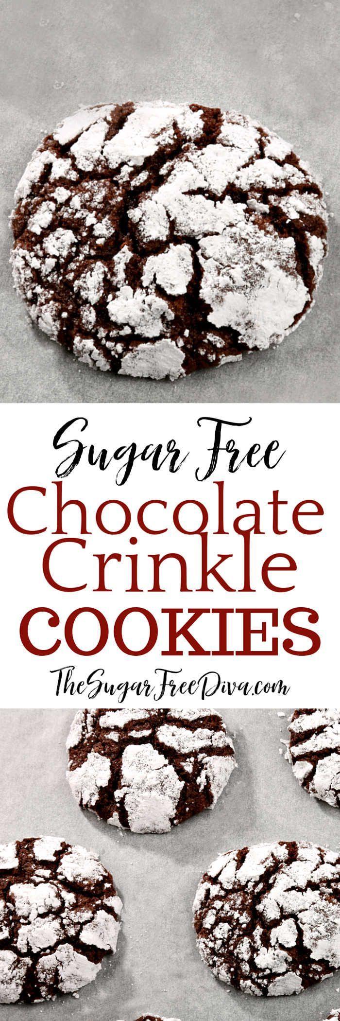 Sugar Free Chocolate Crinkle Cookies #sugarfree #chocolate #holiday #Christmas #cookies #baked # ...