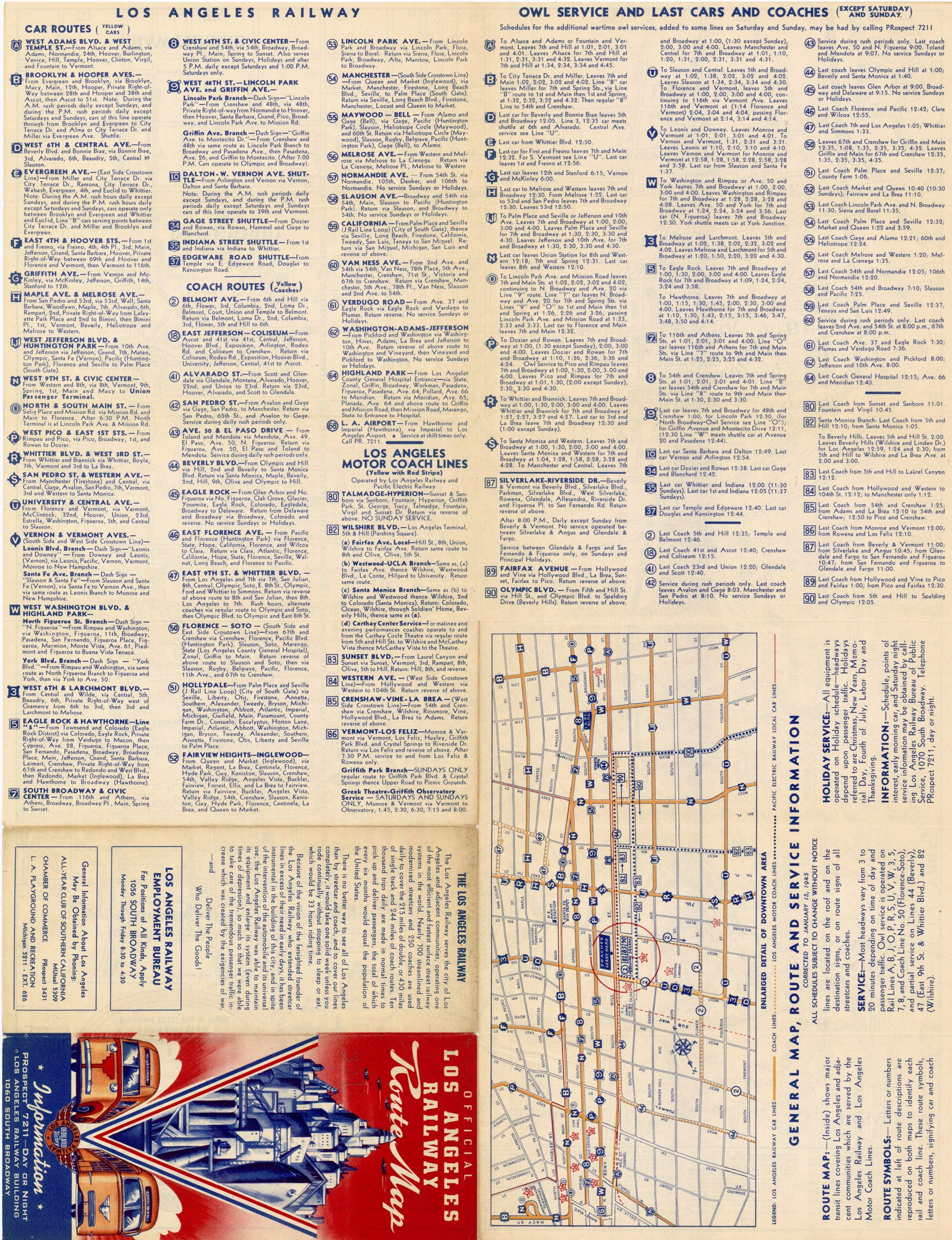 Route Map Los Angeles Railway Streetcar And Coach Routes - Los angeles route map