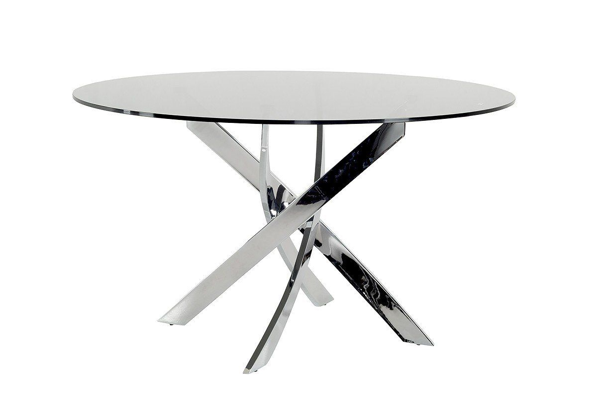 Round glass table top view modrest pyrite modern smoked glass u chrome round dining table