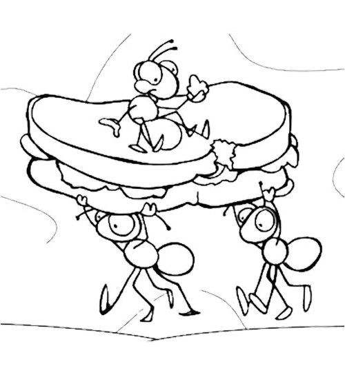 Ant Coloring Page Black White Free Letter A Is For Ants With Sandwich