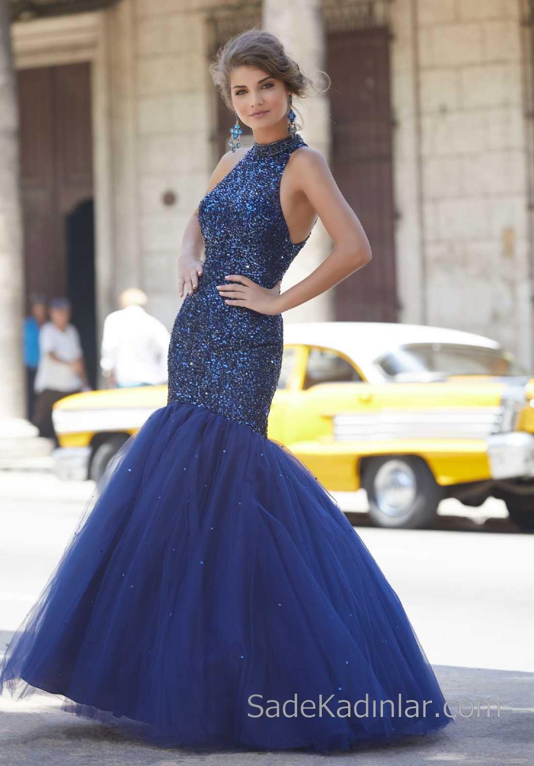 e1216526efb62 2018 Gece Elbiseleri Şık Abiye Modelleri Lacivert Uzun Halter Yaka Boncuk  İşlemeli Tüllü