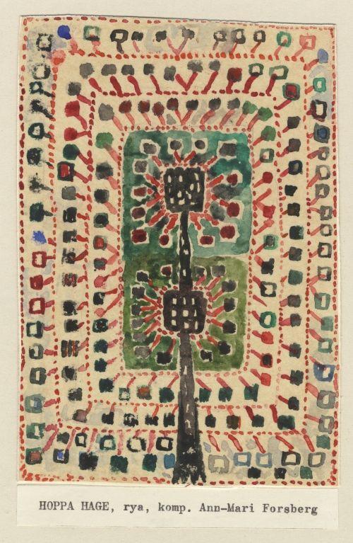 Ann Mari Forsberg (1916–1992) Design for rya rug Hoppa