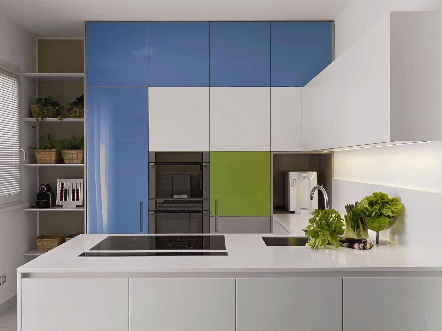White lacquered high glossy kitchen cabinet.By plywood ...