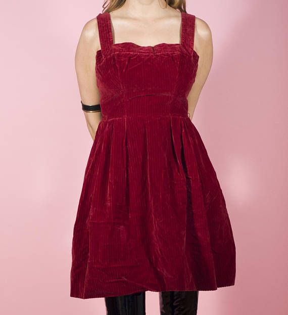 1e0df8298eeb Vintage Dress 50s Pinafore Dress Red Corduroy Mini Dress Maroon Dress Apron  Dress Cocktail Dress Par