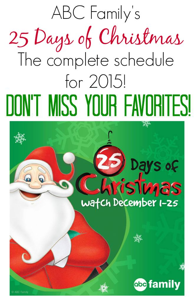 abc familys 25 days of christmas schedule for 2015 - Abc 25 Days Of Christmas